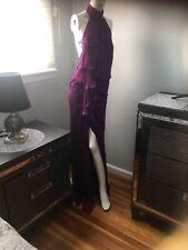 Carmen Marc ValvoNWT Embellished-Neck Draped Gown, Violet/backless/split &990