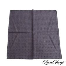 NWOT Made in Italy Cotton Reversible Grey Herringbone Purple Spot Pocket Square