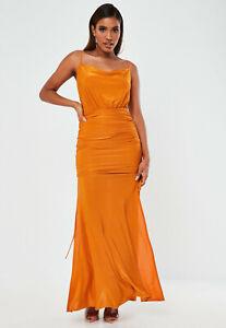 Missguided Orange Slinky Cowl Ruched Split Side Maxi Dress