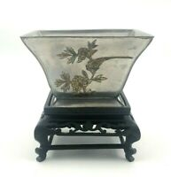 Vintage Chinese Footed Pewter Square Bowl Carved Wood Stand