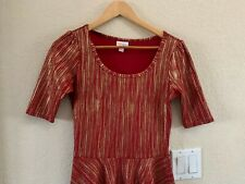 LuLaRoe Red Gold Nicole Dress Size S