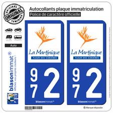 2 Autocollants plaque d'immatriculation auto | 972 Martinique - Tourisme