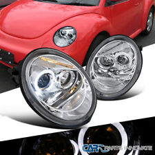 For Vw 98 05 Beetle Replacement Halo Projector Led Headlights Head Lamps Clear Fits 1999 Volkswagen