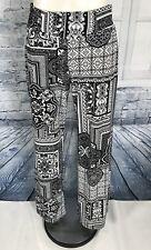 Carmen Marc Valvo Black White Scarf Print Stretch Palazzo Pants - Size Medium