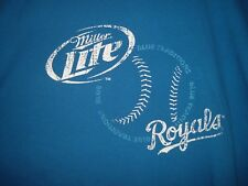 MLB Kansas City Royals Baseball Miller Lite - Blue Traditions Adult XL T-Shirt
