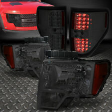 FOR 09-14 FORD F150 SMOKED HOUSING AMBER CORNER HEADLIGHTS+FULL LED TAIL LAMPS