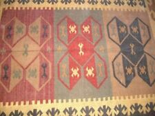 Tribal Nomadic NEW - ORANGE RED BLACK Hand Woven 120x180cm  100% Wool Kilim Rug