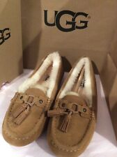 NWT UGG Women's  Litney Chestnut Suede And SHEEPSKIN MOCCASIN SLIPPERS size 11
