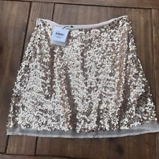 Lovers Wonderland Designer GOLD  Sequin,lined, Zip Up  Short Skirt Size 10 NWT