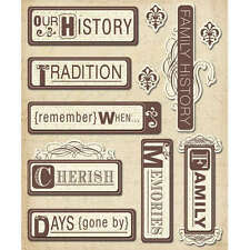 K&COMPANY STICKER MEDLEY HERITAGE WORDS ANCESTRY FAMILY 3D SCRAPBOOK STICKERS
