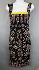 Nicole Miller Size 6 Sleeveless Dress Black Yellow Print Ruched Sides Sexy