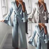 Women's Long Sleeve Deep V Neck Jumpsuits Casual Evening Party Flared Trousers Q