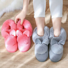 Women's Winter Plush Bunny Rabbit Warm Indoor Slippers Slip On Soft Home Shoes