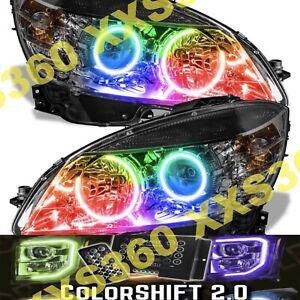 ORACLE Halo 2x HEADLIGHTS BLACK Mercedes Benz C-Class 08-11 COLORSHIFT 2.0 LED
