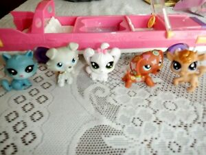 Littlest Pet Shop LPS  Lot 5 Animals, Pink Plastic Limo Car