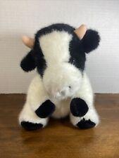 Mary Meyer Townshend Vermont Furry Stuffed Plush Black White Cow Horn 🐄