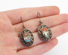 NAVAJO 925 Silver  - Vintage Mother Of Pearl Turquoise & Coral Earrings - E9268