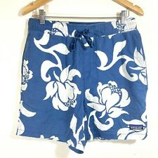 Patagonia Men's Shorts ORGANIC COTTON HEMP Blue Floral Design Size Medium