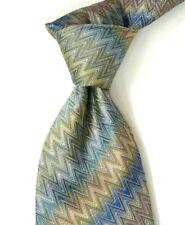 Missoni Textured Blue   Orange Zigzag Striped Silk Neck Tie ITALY 2624fbb5c