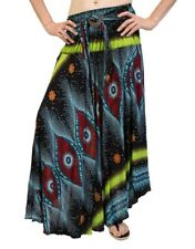 Ladies Peacock Gypsy Bohemian Paisley Elastic Waist Maxi Skirt One Size 12-14-16