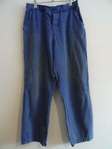 Vtg French faded blue work chore pants workwear trousers