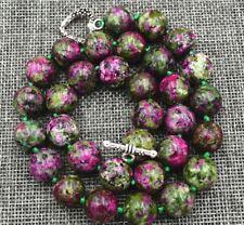 "12mm green ruby gemstone Necklace 18"" Tibetan silver love clasps JN262"