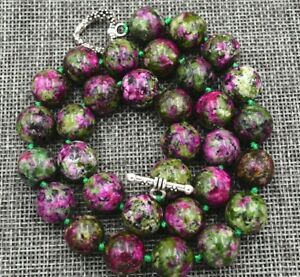 12mm green ruby gemstone round beads Necklace 18'' Tibetan silver love clasps