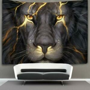 """Nice Tapestry Lion Electric Epic Legendary Black White Bold 40x60"""" Wall Hanging"""