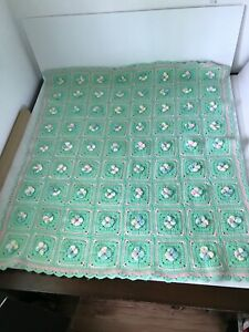 Sweet Unisex Hand Crocheted Baby Blanket 3D Granny Squares Green
