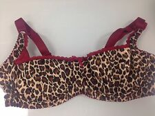 Bettie Page Inspired Secrets in Lace Leopard and Red Plunge Bra Size 34B-New