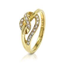 9ct Oro Amarillo Diamante Retorcido CROSSOVER Vestido Anillo Tamaño J (00099)
