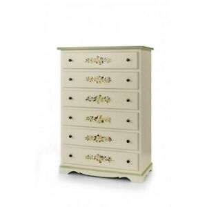 Chest of Drawers 1491 With 6 Drawers Lacquer with Flowers Painted
