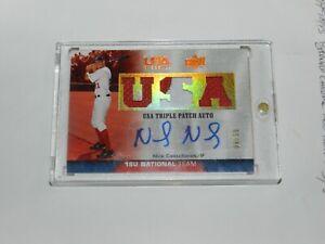 Nick Castellanos 2009 Upper Deck USA Baseball Game Used Patch Autograph 06/35