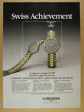 1985 Longines Conquest VHP Watches brown dial watch photo vintage print Ad