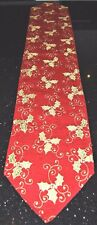 """CHRISTMAS HOLLY A FESTIVE RED TABLE RUNNER WITH HOLLY LEAVES  12"""" X 68"""""""