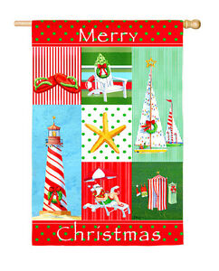 "COASTAL CHRISTMAS COLLAGE Merry Christmas Message 29"" x 43"" Large Banner Flag"