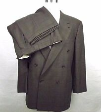 Giorgio Armani Suit Saks Fifth Ave 40R 32 x 30 Double Breasted Brown Check Italy