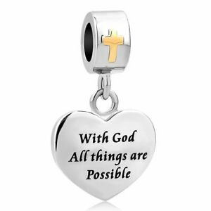 Pandora Cross Charm With God All Things Are Possible Bible Religious Dangle Bead
