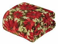 Ultra Soft Cozy Oversized Classic Christmas Poinsettia Plush Throw Blanket Cover