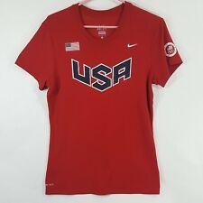 Nike Olympics Team USA Womens Sz L Red Dri Fit Short Sleeve T Shirt Top USATF
