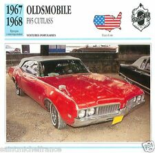 OLDSMOBILE F85 CUTLASS 1967 1968 CAR VOITURE USA ETATS-UNIS CARTE CARD FICHE