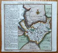 CHESHIRE, Badeslade & Toms original miniature antique map 1742