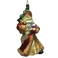 Santa Claus with Christmas Tree and Present Polish Glass Ornament Made in Poland