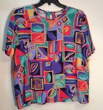 Multi-Colored Geometric Pullover Top w/Button in Back at Neckline Size XL