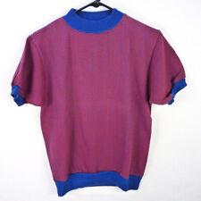 Vintage 60s Short Sleeve Sweatshirt Fleece T-Shirt S Sportswear Red Blue Ringer