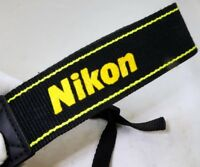 Nikon AN-DC1 Camera Shoulder Neck Strap Black-Yellow Canvas  Free Shipping USA
