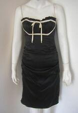 BETSEY JOHNSON Black Silk Halter Corset Dress Back Tie Size 4 EXCELLENT
