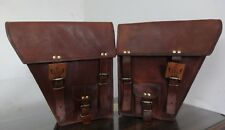"""Saddle Bags Motorcycle Two Bags Side Pouch Brown Leather  Pouch 2 Panniers """"New"""""""