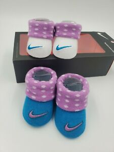 2 Pair Nike Baby Girls Booties, Size 0-6 Months, Purple, Blue, Shower Gift MP