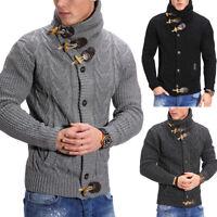 Herren Strickjacke Grobstrick Pullover  Winter Jacke Strickpullover Grau NEU